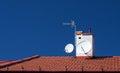 Satellites on roof Royalty Free Stock Photo