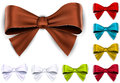 Satin color ribbons gift bows set of colorful vector for eps Stock Photos