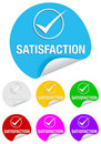 Satisfaction check mark,round stickers Stock Photos