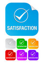 Satisfaction check mark,square stickers Stock Photo