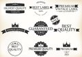 Satisfaction guarantee label and vintage premium quality set illustration of Stock Photo