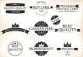 Satisfaction Guarantee Label and Vintage Premium Quality set Royalty Free Stock Photo