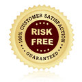 Satisfaction guaranteed seal customer stamp with risk free text on center Stock Images