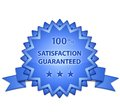Satisfaction guaranteed sign glossy with stars vector illustration Stock Image