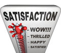 Satisfaction thermometer measuring happiness fulfillment level a topped with the word measures the a person or customer has with Stock Images