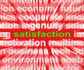 Satisfaction word shows enjoyment contentment and fulfilment showing Stock Images