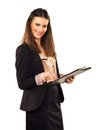 Satisfied career woman doing her job female executive holding a clipboard Royalty Free Stock Photos