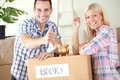 Satisfied couple savings to new home in their hew good saving Royalty Free Stock Photo