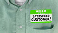 stock image of  Satisfied Customer Happy Client Nametag Shirt