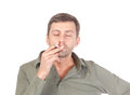 Satisfied man smoking Royalty Free Stock Images
