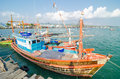 Sattahip thailand fishing boat at smaller ports in Royalty Free Stock Images