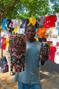 Saturday market in maputo mozambique april unidentified man selling traditional african masks on the mozambique on april the local Royalty Free Stock Photo