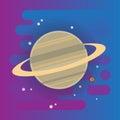 Saturn icon - flat illustration, space elements
