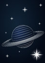 Saturn planet drawing in outer space illustration Royalty Free Stock Photos