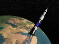 Saturn v spaceship d render flying upon the earth elements of this image furnished by nasa Stock Photography