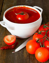 Sauce de tomate et tomate Photos stock