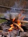 Saucepan on campfire Royalty Free Stock Photography