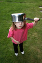 Saucepan on head Stock Photos