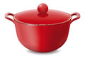 Saucepan Red isolated on white. Vector illustration Royalty Free Stock Photo