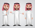 Saudi arab man vector character set wearing thobe and gutra