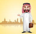 Saudi arab man vector character wearing thobe showing city landmark