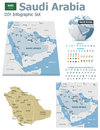 Saudi arabia maps with markers set of the political and symbols for infographic Royalty Free Stock Images