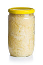 Sauerkraut jar white background Stock Photos