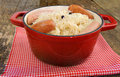 Sauerkraut in red stew pot Royalty Free Stock Photography