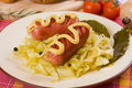 Sauerkraut with sausages, traditional german meal Royalty Free Stock Photo