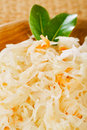 Sauerkraut - Sour cabbage -  on wooden bowl Stock Photography