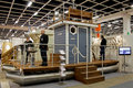 Sauna-Boat at Boat Show Stock Photo