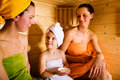 Sauna girls Stock Image