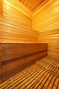 Sauna interior finnish home with wooden bench walls and floor Stock Photography
