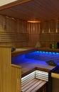Photo : Sauna interior  yellow mock-up