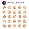 Sauna, steam bath line icons. Bathroom equipment birch, oak birch, bucket. Hammam, japanese, finnish russian, infrared