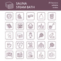 Sauna, steam bath line icons. Bathroom equipment birch, oak birch, bucket. Hammam, japanese, finnish, russian, infrared