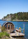 Sauna in sweden wooden at the sea Stock Image