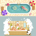 Sauna and swimming pool vector flat spa relax or summer holiday vacations Royalty Free Stock Photo