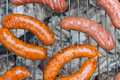 Sausage barbecue close up on the grill Stock Photography