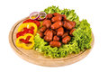 Sausage beer sausages and vegetables on wooden plate Royalty Free Stock Photo