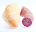 Sausage and bread meat food at white background Royalty Free Stock Images