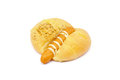 Sausage bread on a white background Royalty Free Stock Photo