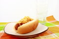 Sausage On Bun With Sauerkraut Stock Photography
