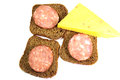 Sausage and cheese sandwiches of rye bread Stock Photo