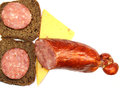 Sausage and cheese sandwiches of rye bread Stock Image