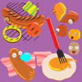 Sausage cor design dirac operator for the out cute and eat Stock Images