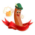 Sausage drinks beer in a hat drinking a and ribbon Stock Photos