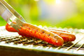 Sausage on the flaming Grill Royalty Free Stock Photo