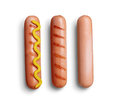 Sausage grill with mustard Royalty Free Stock Photo