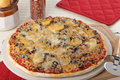 Sausage and Mushroom Pizza Royalty Free Stock Photo